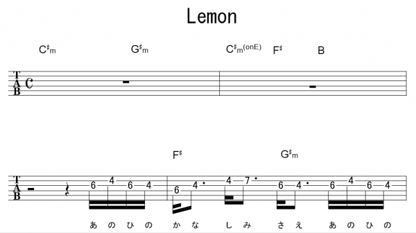 「Lemon(サビ)」【米津玄師】_ギターTAB譜(メロディ ...