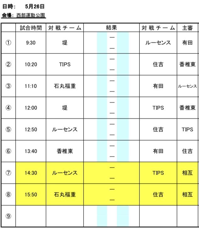 5/26(土) U-11リーグ変更