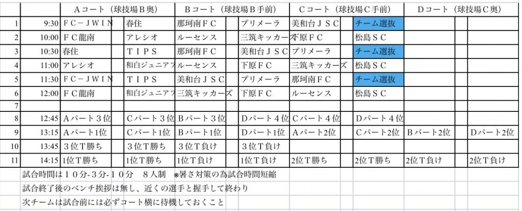 8/4(土) U-9 キッズサッカー大会