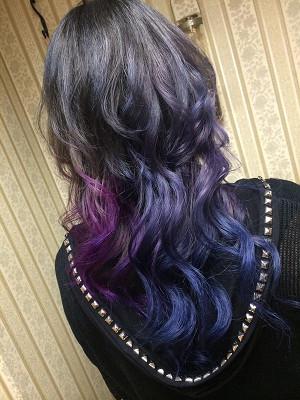 青 青紫 灰 色のグラデーション 南行徳美容室ラパンアジール