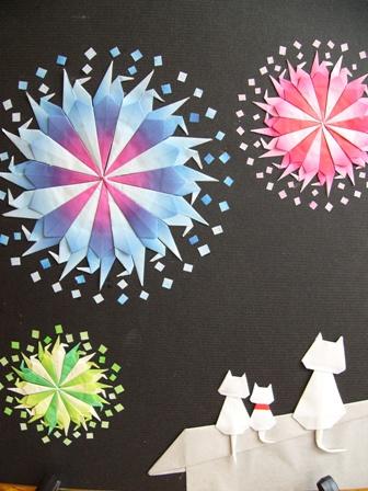 折り紙 三月 折り紙 : これは花火見物、猫シリーズ ...